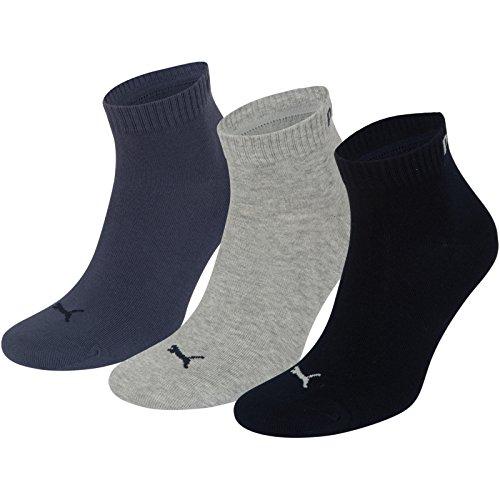 Puma Sport Socken (Ausgewählte. Farben) Unisex Fashion Quarter (3Paar) M Blau (Nightshadow Blue Mix)