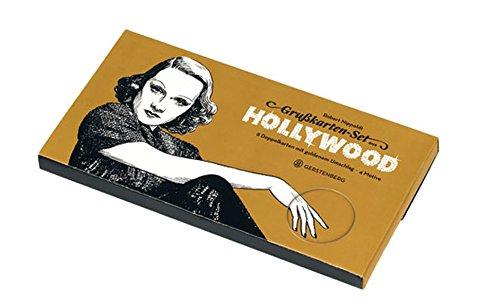 Grußkartenset aus Hollywood: 8 Blanko-Doppelkarten DIN lang mit goldenem Umschlag