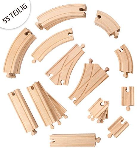 Holzeisenbahn für Jungen und Mädchen geeignet, 55- teilig , Erweiterungsset, Kompatibel mit allen gängigen Major Brands Eisenbahnen, Buchenholz, Holzschienen, Schienenbahn System, großes Schienensortiment