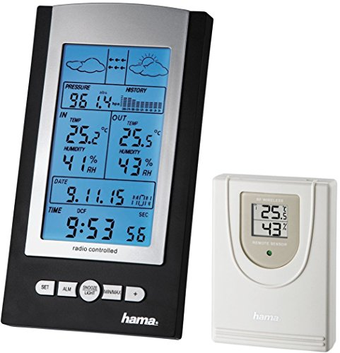 Hama Funk Wetterstation EWS-800 (Funkuhr, Thermometer, Hygrometer und Barometer, inkl. Außensensor mit 100m Reichweite), schwarz