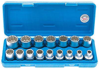 Steckschlüssel Satz 1/2 Zoll 16-tlg. Außen Vielzahn Nüsse 8-24 mm Steck Nuss Set