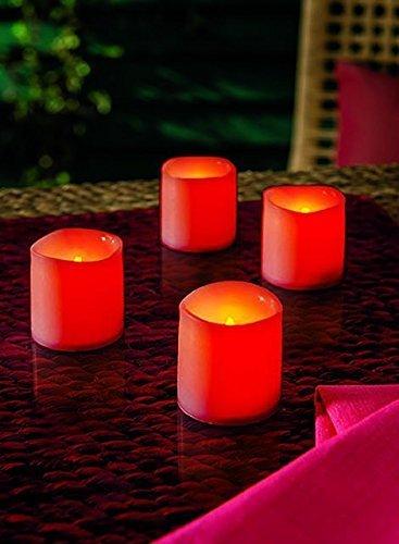 Weihnachtsdeko Led Kerzen.4er Set Led Kerzen Rot Flackereffekt Warmweiß Kerzen Mit Led Beleuchtung Und Flackernder Led Wie Bei Einer Echten Kerze Tolle Adventsdekoration