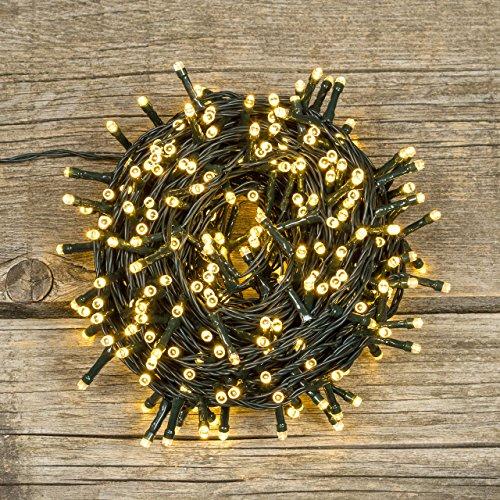 LED-Lichterkette 25,5 m, 360 Leds warmweiß, grünes Kabel, mit Memorycontroller, Weihnachtslichter, Weihnachtsbeleuchtung, Weihnachtsbaumbeleuchtung Außen