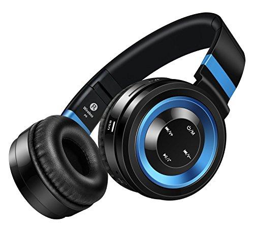 Sound Intone P6 Bluetooth 4.0 Drahtlose Stereo Kopfhörer, Hi-Fi Klanqualität, Rauschunterdrückung, mit eingebautem Mikrofon und Lautstärkeregler, Audio-Kabel kompatibel für viele Audiogeräten (Schwarz/Blau)