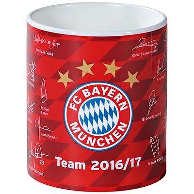 FC Bayern München Tasse Kaffeebecher Becher Team Unterschriften 2016/2017 Neu
