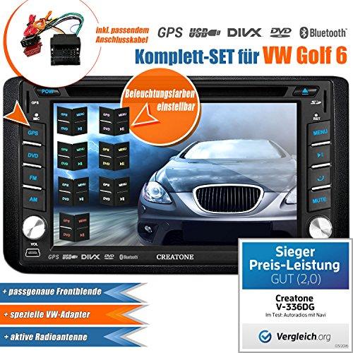 2DIN Autoradio CREATONE V-336DG für VW Golf 6 (2008 - 2013) mit GPS Navigation (Europa), Bluetooth, Touchscreen, DVD-Player und USB/SD-Funktion