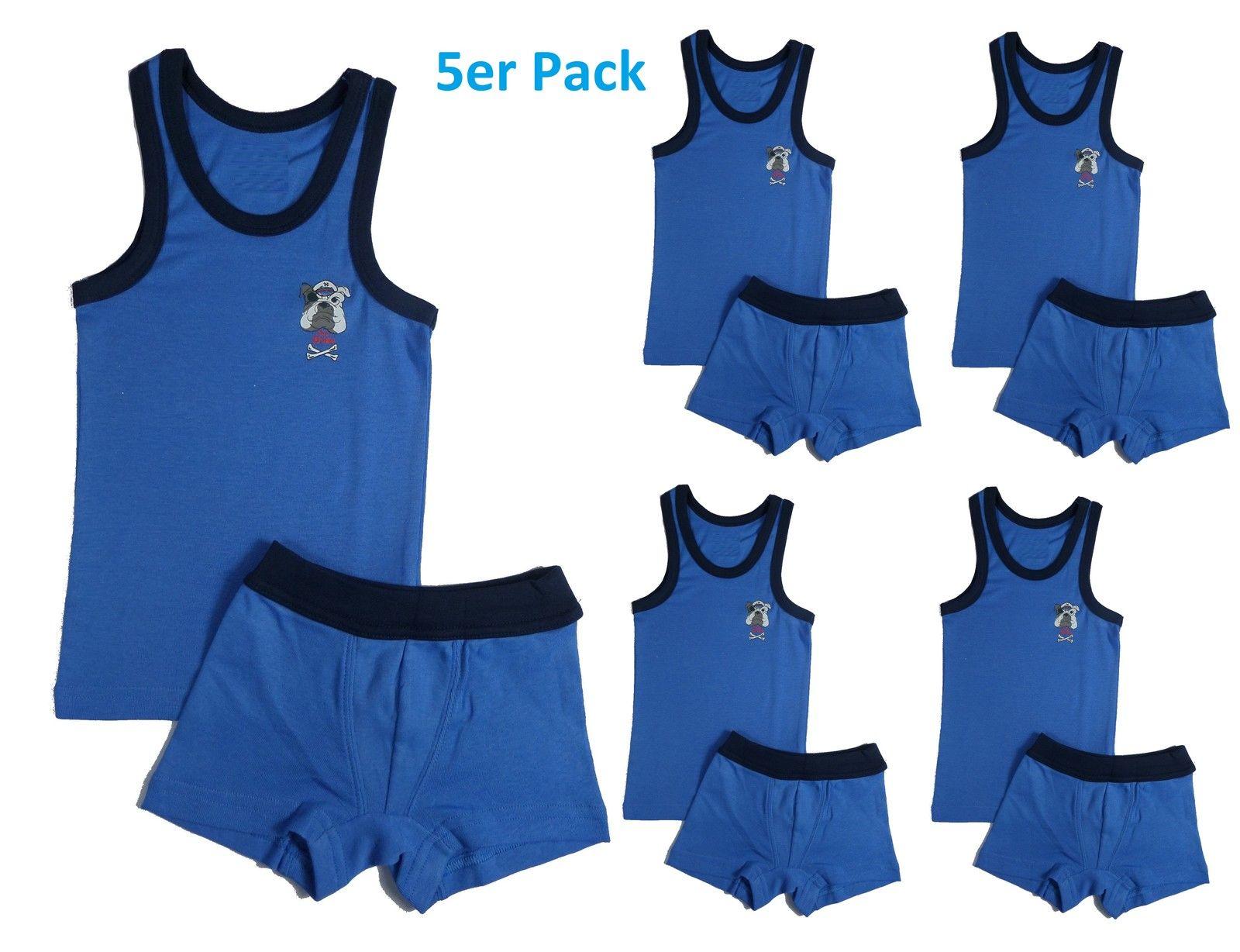 5er Set Jungen Knaben Garnitur 5 Stück  Kinder Unterhemd+ Hose Unterwäsche blau