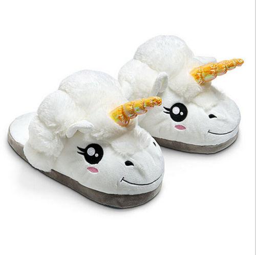 Einhorn Hausschuhe Pantoffeln Hausschlapfen Plüsch Schuhe Unicorn Schlappen