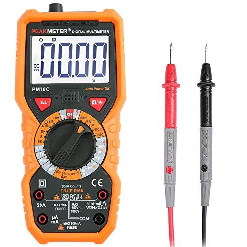 Multimeter Janisa PM18C Digital Messgeraete Voltmeter Amperemeter Ohmmeter Messgerät für Spannug Strom Widerstand Digitales AC DC Kapazität Frequenz sowie Kapazitanz berührungslose Spannungs- und Temperaturmessung mit cat iii hintergrundbeleuchtetem groß