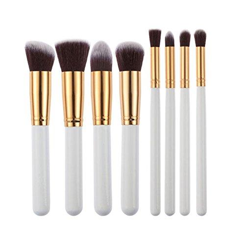 8 tlg. Makeup Bürsten Pinsel Schminkpinsel Kosmetikpinsel Make Up Pinsel Kosmetik Set Gold/Silver
