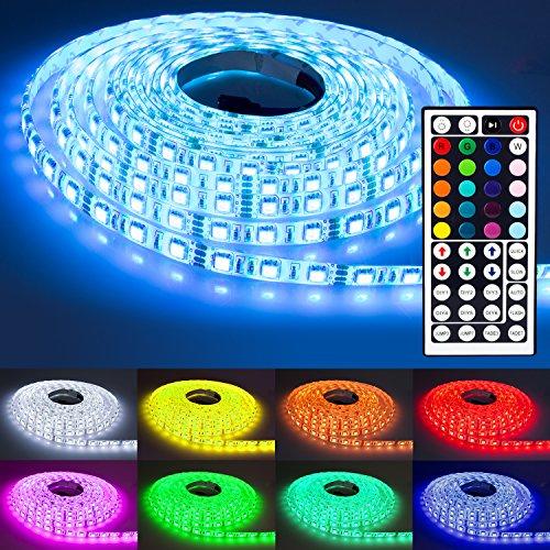 NINETEC Flash60 5m RGB LED Strip Leiste Streifen SMD Band 60 LEDs/m Wasserdicht + 44 Key Fernbedienung IP65