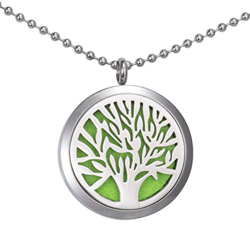Beste X'mas Geschenk für Sie Meilanty Damen Halskette 60cm Tree of life Öle Diffusor Aromatherapie mit 6 Pads WZ-E01