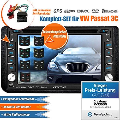 2DIN Autoradio CREATONE V-336DG für VW Passat 3C (2005 - 2014) mit GPS Navigation (Europa), Bluetooth, Touchscreen, DVD-Player und USB/SD-Funktion