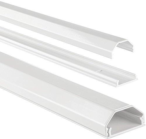 Hama Kabelkanal Alu (Aluminium, eckig, 110 x 3,3 x 1,7 cm, bis zu 5 Kabel), weiß