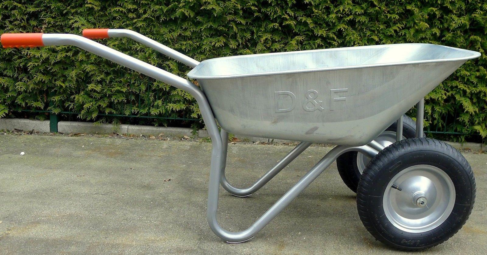 2 Rad Schubkarre,Verzinkt,120kg,für Bau,Garten und Stall,sehr Flach,Luftbereift