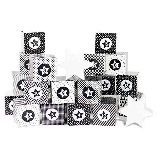 DIY Adventskalender Kisten Set für Erwachsene - 24 schwarz-weiße Kisten zum Aufstellen und selber Befüllen - 24 schwarz weiße Boxen I Schachteln