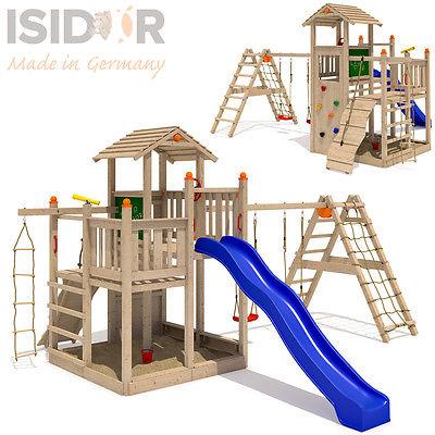 ISIDOR Fluppy Flu Spielturm Kletterturm großer Sandkasten Rutsche 2 Schaukeln