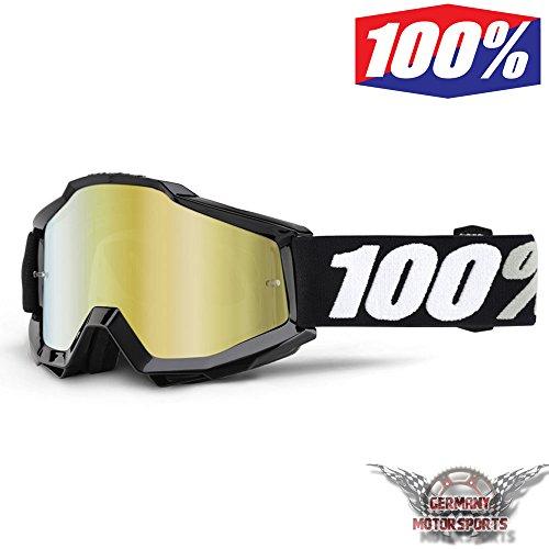100% CROSSBRILLE ACCURI BLACK TORNADO SCHWARZ VISIER GOLD MOTOCROSS OFFROAD ENDURO DH MTB QUAD ATV