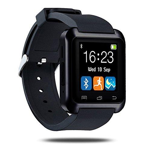 GSTEK Smart Watch, Bluetooth Smartwatch, Armband-Telefon Uhr mit Schrittzähler, Touchscreen für Smartphones mit Android System, Samsung, HTC, Sony, LG, Blackberry, Huawei - Schwarz