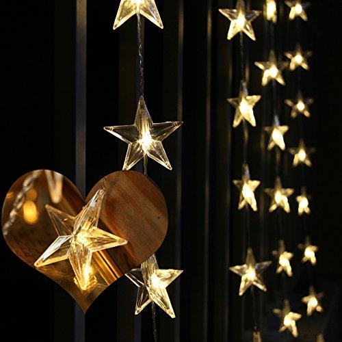 LEORX LED Sternenvorhang Vorhang 50 Warm-Weiße Wasserfeste LEDS für Drinnen und Draußen