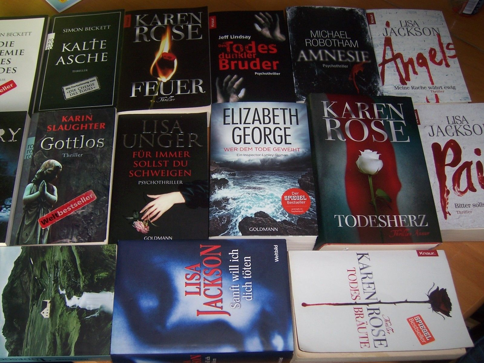 Bücherpaket 15 Thriller z.B Lisa Jackson Karen Rose Simon Beckett