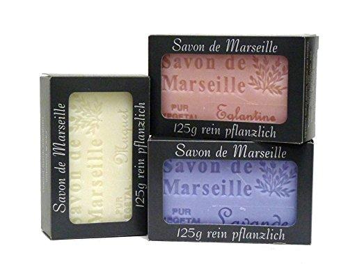 100% Naturseifen: Lavendelseife, Wildrosenseife & Maiglöckchenseife, 3-teiliges Seifenset (Savon de Marseille)