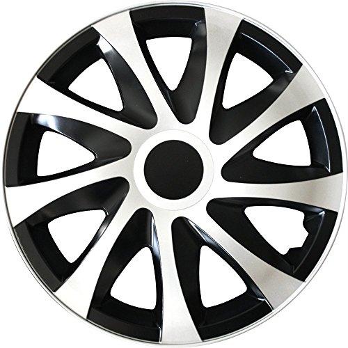 (Farbe und Größe wählbar) 15 Zoll Radkappen DRACO (Schwarz-Weiß) passend für fast alle Fahrzeugtypen - universell