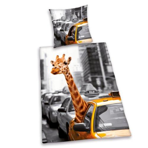 Herding 445943050 Bettwäsche New York Safari, Kopfkissenbezug: 80 x 80 cm + Bettbezug: 135 x 200 cm, 100 % Baumwolle, Renforce