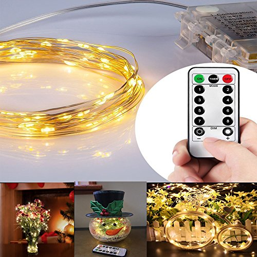 Moliker led licht, 10 M 100 LED Lichterkette Batterienbetrieben Warmweiß Fernbedienung & Timer Sternenlichter für Garten, Hochzeit, Party (10 M Warmweiß)