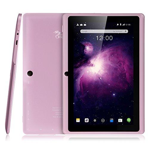 Dragon Touch Y88X Plus 7 Zoll Quadcore Google Android Tablet PC, Android 4.4 KitKat, 8GB NAND Flash, IPS Bildschirm 1024x600 Auflösung, Bluetooth, DoppelKamera, Google Play, 3D Game unterstützt (Erweiterte Version der Y88X)- Rosa