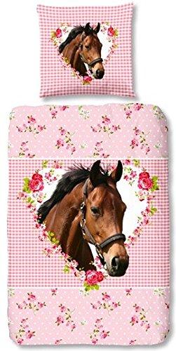 Aminata Kids Süße Mädchen Kinder Bettwäsche 135x200 Pferde