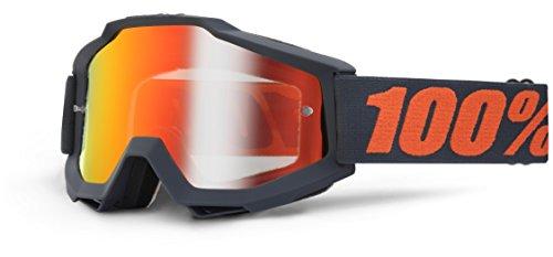 100 % PROZENT ACCURI MATTE GUNMETAL BRILLE GOGGLE 2014 MOTOCROSS CROSS MTB QUAD ATV SUPERMOTO (Rot Verspiegelt)
