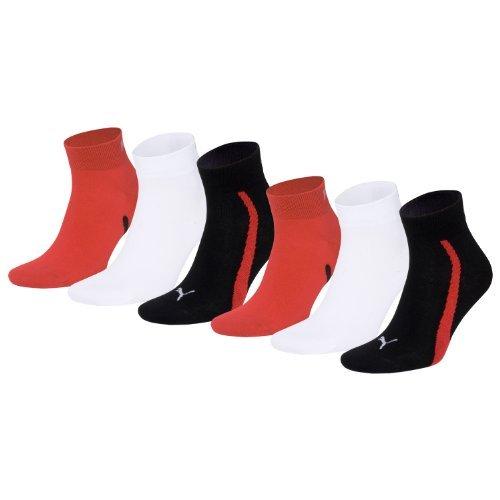 PUMA Unisex Winner Quarter Sport Socken Sportsocken 6er Pack black / white / red 852 - 35/38