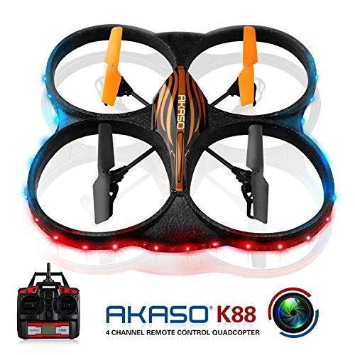 AKASO K88 2.4GHz 4 CH 6 Axis Stabilization System Control Gyro RC Quadcopter mit HD Kamera, 360-Grad Flip Funktion 2 RTF LED RC Drohne