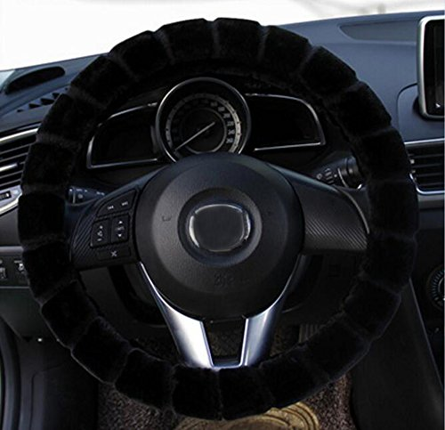 Lenkräder & Lenkradnaben Universal Auto Lenkradhülle Winter Auto Plüsch Lenkradbezug Lange Wolle Plüsch Lenkradbezug für Auto Zubehör Warm Car Steering Wheel Cover [38cm] (Schwarz)?ToullGo®