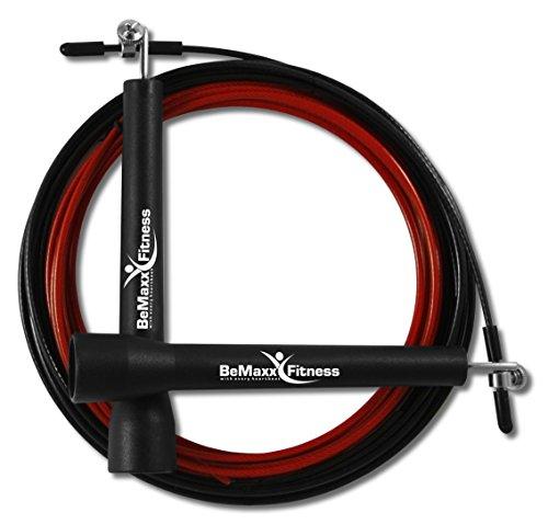 Springseil Speed Rope II von BeMaxx Fitness + Trainingsguide & Extra Seil - Super dünnes & leichtes verstellbares Stahlseil + Kugellager - Crossfit, Profi Sport, Boxen, Training, Erwachsene