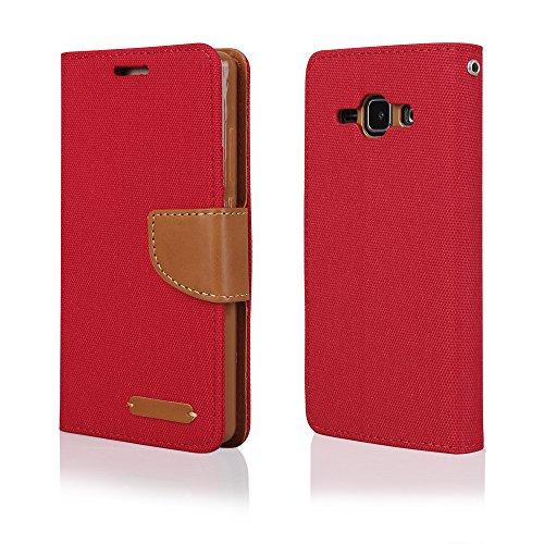 EGO® Bookstyle Handy Tasche mit praktischer Aufstellfuntkion für Samsung Galaxy J3 J320 (2016) Rot Flip Case Magnetverschluss Book Cover mit Kartenfach Wallet Stand Schutz Hülle Canvas