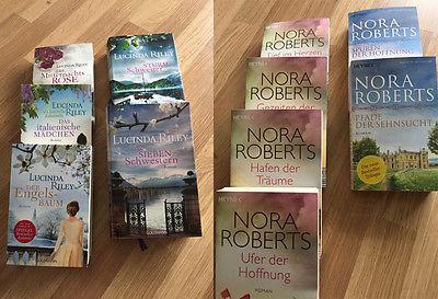 Kiste mit 11 Bücher - 6 x Nora Roberts und 5 x Lucinda Riley