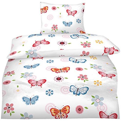 Aminata - moderne Teenager Mädchen Bettwäsche 135x200 Schmetterlinge Jugendliche rosa pink blau Schmetterling-Bettwäsche