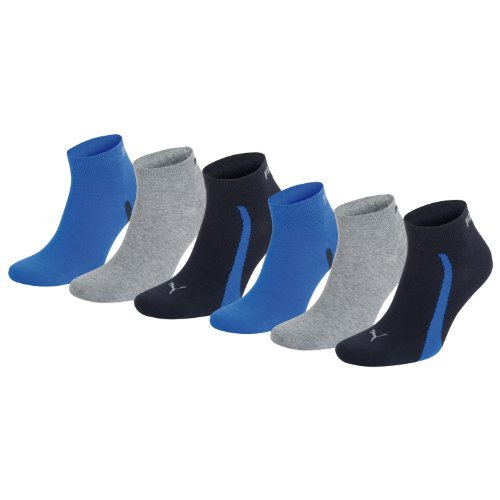 PUMA Unisex Winner Quarter Sport Socken Sportsocken 6er Pack navy / grey / strong blue 523 - 35/38