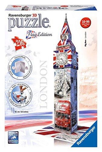 Ravensburger 12582 - Flag Edition Big Ben - 3D Puzzle-Bauwerke, 216 Teile
