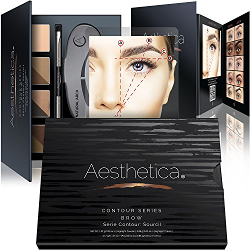 Aesthetica Cosmetics Augenbrauen Kontur Kit - 15-teilige Augenbrauen Makeup Palette - Enthält Puder, Wachs, Schablone, Pinsel/Bürste Kombi, Pinzette & Schritt-für-Schritt-Anleitung - Vegan & tierversuchsfrei