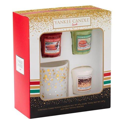 Yankee Candle 1521555 Christmas 2016 3 Votive + Holder Gift Set Geschenkset 3 Votivkerzen und Halter, Glas, Mehrfarbig, 4.7 x 4.7 x 5 cm
