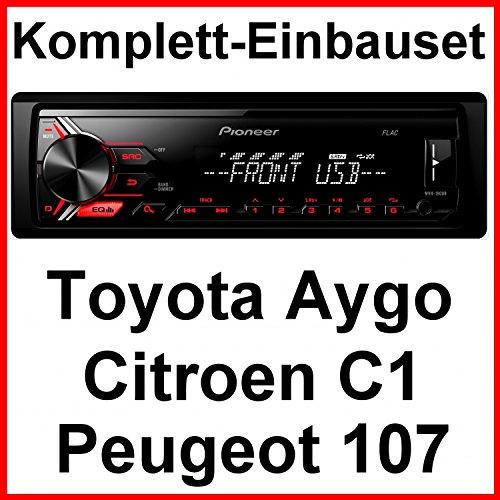 Komplett-Set Toyota Aygo Citroen C1 Peugeot 107 MVH-190UB Autoradio USB FLAC AUX