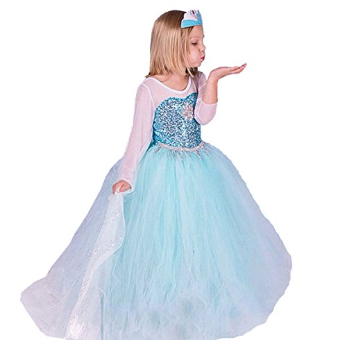 ELSA & ANNA® Mädchen Prinzessin Kleid Verrücktes Kleid Partei Kostüm Outfit DE-FR314 (7-8 Jahre, DE-FR314)
