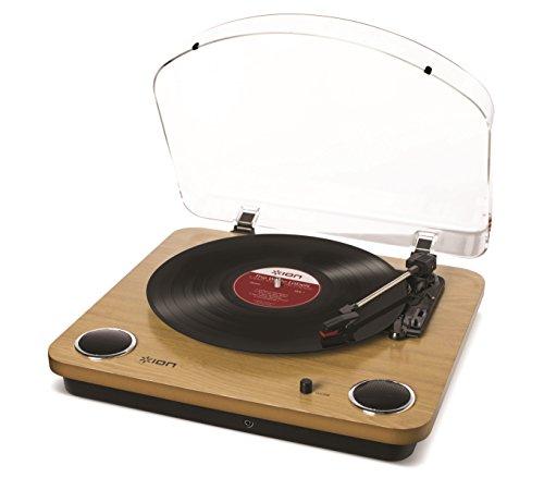 ION Audio Max LP | USB Digital Encoder Vinyl Plattenspieler / Turntable mit eingebauten Stereo Lautsprechern - inkl. Converter Software (MAC/PC) - Wood