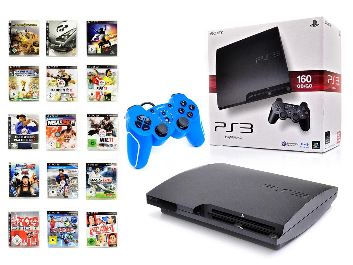 SONY PS3 Konsole 160GB SLIM + NEUEN Wired Controller BLAU Spielkonsole+1 Spiel