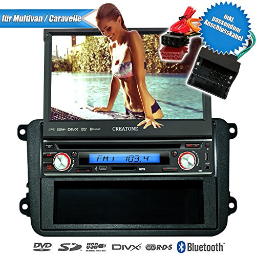 1DIN Autoradio CREATONE V-7260DG für VW Multivan / Caravelle T5 (09/2009 -) mit Touchscreen, Navigation GPS, Bluetooth, DVD-Player und USB/SD-Funktion