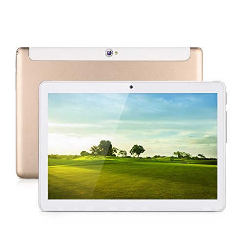 Excelvan 10.1 Zoll Tablet 1280*800 Android 4.4 MTK6582 Quad Core 1GB+16GB Speicher 3G SIM Karte WiFi Dual Kamera Bluetooth4.0 G-sensor GPS OTG FM Tablet PC Gold