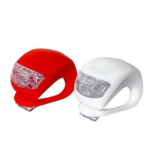iQualTech Hochwertiges Set mit 2 superhellen Dual-LED Fahrradlichtern, 1 rotes Licht (Rückseite) + 1 weißes Licht (Vorderseite) für Rundumsicherheit - passend für alle Lenkerstangen und in Sekunden anzubringen! - Blinkend oder Konstantlicht